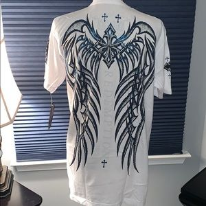 Archaic Large white with blue accent T-shirt BNWT